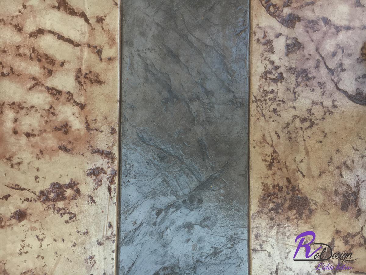 detail des joints de dilatation en béton imprimé gris à Vulbens 74520