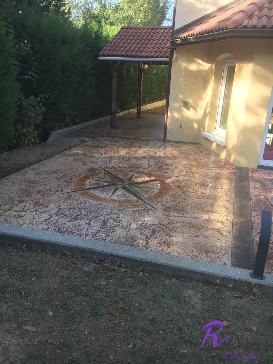 Vulbens terrasse en béton empreinte design vieux granit imprimé