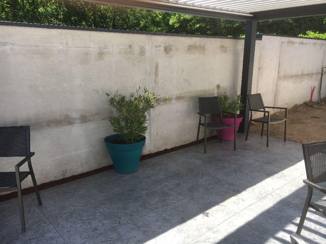 terrasse mur plantes en pot